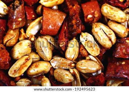 Close up -Crunchy Spicy Peanuts  - stock photo