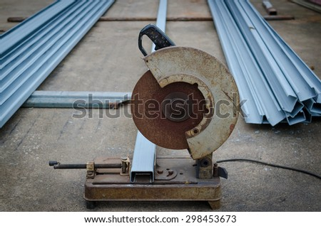 close up cutting steel - stock photo