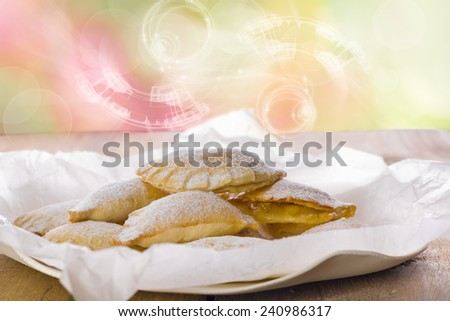 Close up Delicious Cookies with Sugar on Plate with White Paper, Placed on Wooden Table. - stock photo