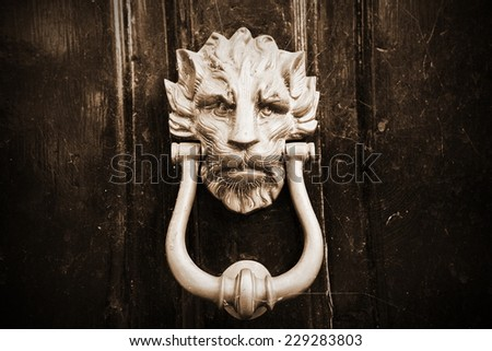 Close-up Detail Beautiful Old Fashioned Door Knocker  - stock photo