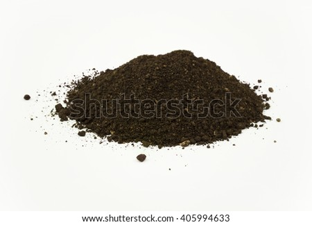 Close Up Detail of a Pile of Worm Humus Soil Isolated on White Background - stock photo