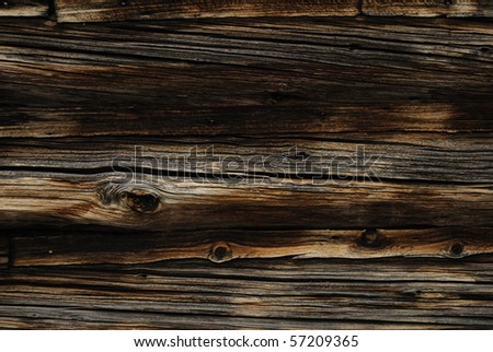 Close-up detail of log cabin - stock photo