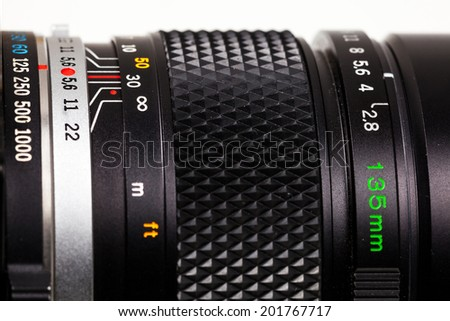 Close-up detail of parts to a telephoto lens. - stock photo