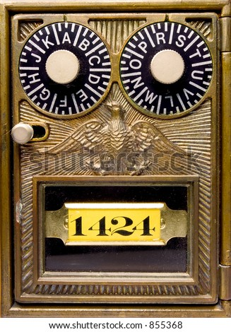 Close up detail of the front of an antique lockbox. - stock photo