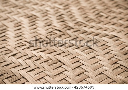 Close up detail view of a wicker basket weave with natural materials. - stock photo