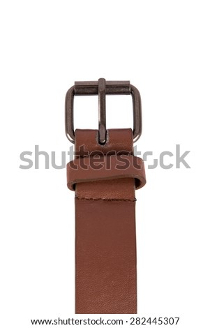 Close up detailed front view of brown fabric belt buckle, isolated on white background. - stock photo