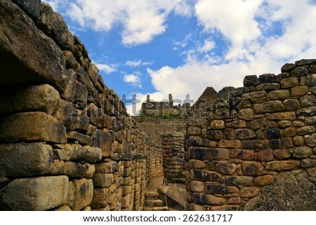 Close up detailed view of buildings in Machu Picchu. Machu Picchu is the famous lost city of the Incas near the river Urubamba located in the region of the sacred valley of Cuzco. Machu Picchu is a - stock photo