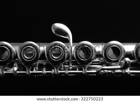 Close up details of clarinet. Black and white photography. - stock photo