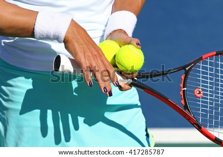 Close-up details of Tennis player equipment - stock photo
