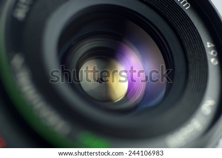close-up diaphragm of lens - stock photo