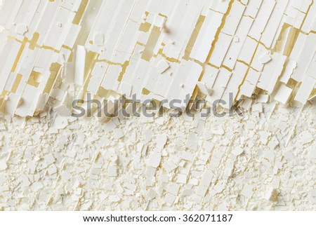 Close up dirty weathered and damaged plastic corrugated sheet, cracked into pieces - stock photo