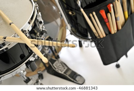 close up drum with drumsticks - stock photo