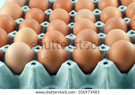 close-up eggs in the package - stock photo