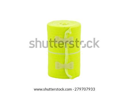 Close up elastic bandage isolated white background - stock photo