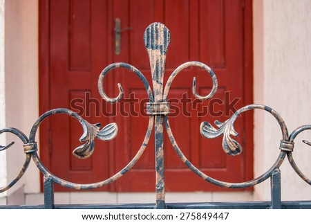 close up element of iron fence, curves and curls. background - stock photo