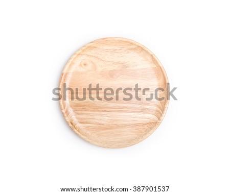 Close up empty flat wooden dish isolated on white background - stock photo