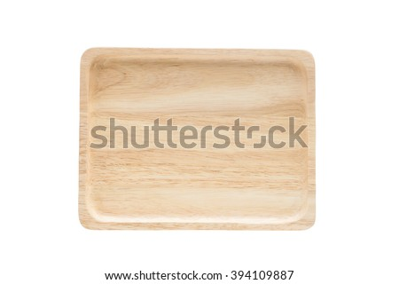 Close up empty flat wooden dish isolated on white background,with clipping path - stock photo
