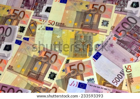 Close-Up Euro Banknotes BACKGROUND - stock photo