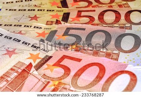 Close-Up Euro Banknotes Five Hundred - stock photo