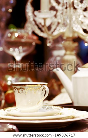 Close up evening tableware in luxury style - stock photo