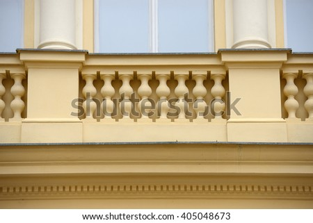 Close-up facade detail of old 19th century building of Renaissance Revival style on Celetna, 7 in Prague, Czech Republic. - stock photo