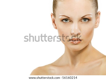 Close-up face of beautiful caucasian blonde woman with green eyes over white - stock photo