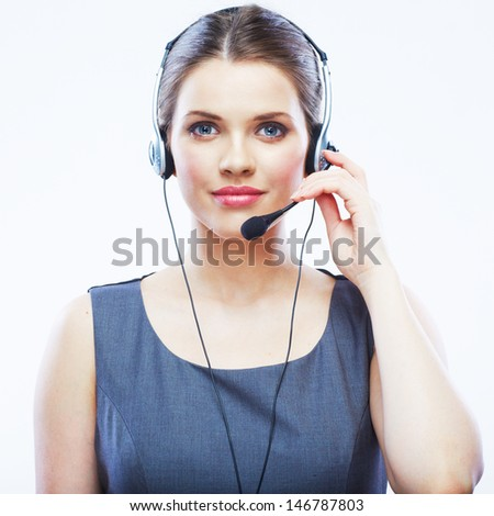 Close up face portrait o woman customer service worker isolated on white background, call center smiling operator with phone headset. Young female model. - stock photo