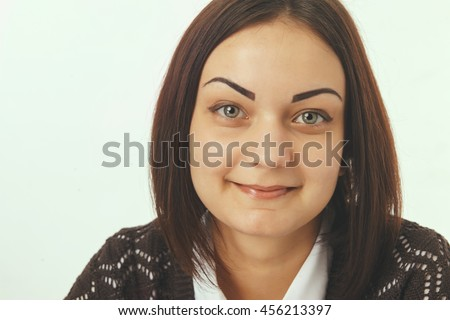 Close up face portrait of beautiful business woman. - stock photo
