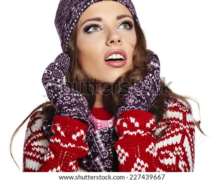Close up face Portrait of beautiful young woman. winter style  - stock photo