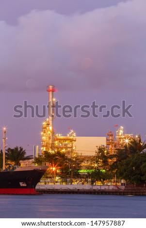 close-up factory oil refinery twilight at bangkok thailand - stock photo