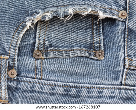 close up fancy washed blue jeans pocket  - stock photo