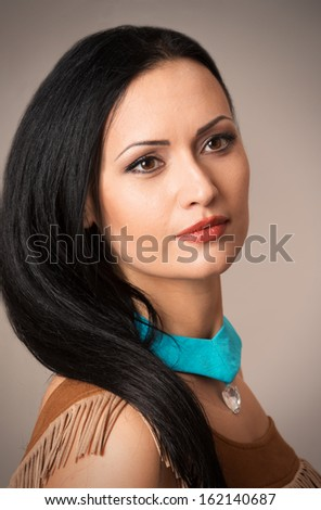 Close-up female portrait - stock photo