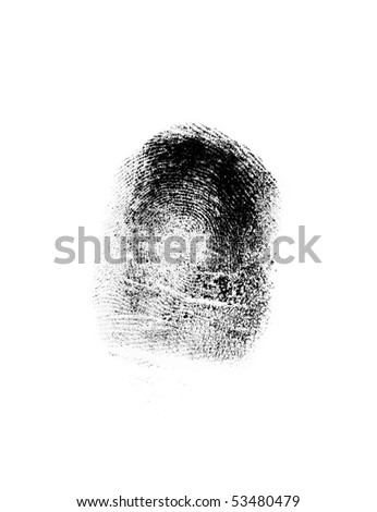 Close up finger-print on the white background - stock photo