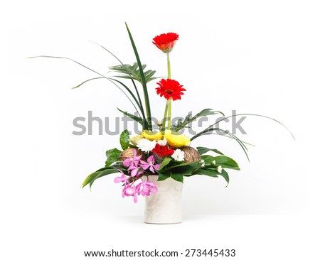 Close up flower bouquet in ceramic pot isolated on white, vanda, gerbera, orchid, pong pong seeds - stock photo