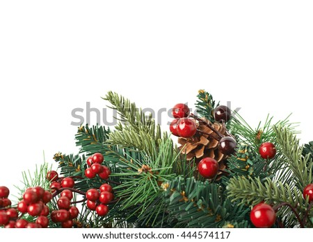 Close-up fragment of a fir Christmas wreath isolated over the white background as a copyspace backdrop composition - stock photo