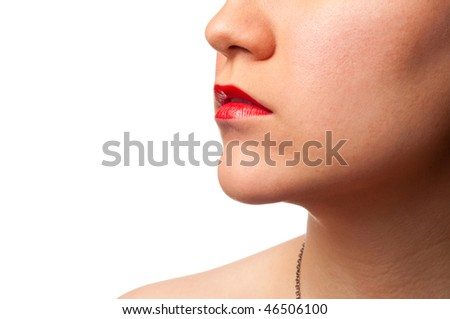 Close-up framed lips, neck, shoulder and chin shot isolated on a white background - stock photo