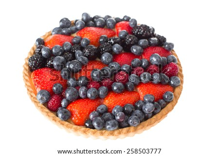 Close up Fresh Homemade Pie with Assorted Blank and Pink Berries on Top, Isolated on White Background. - stock photo