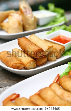 Close up Fried Chinese Traditional Spring rolls food - stock photo