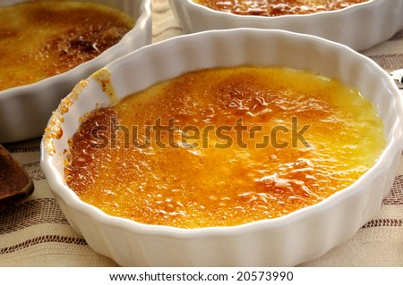 Close-up from creme brulee in a bowl - stock photo