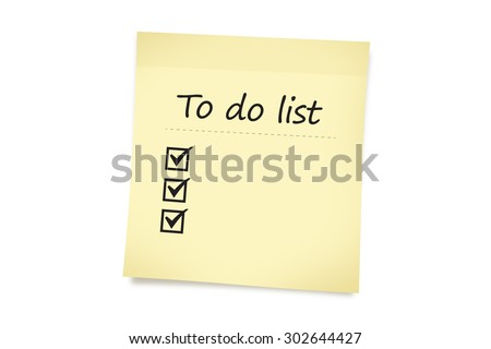 Close up front view of text of to do list with check marks on a yellow sticky note paper, isolated on white background. - stock photo