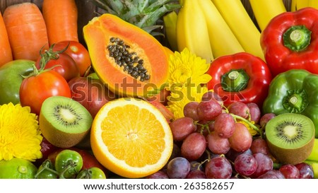Close-up Fruits and vegetables organics - stock photo