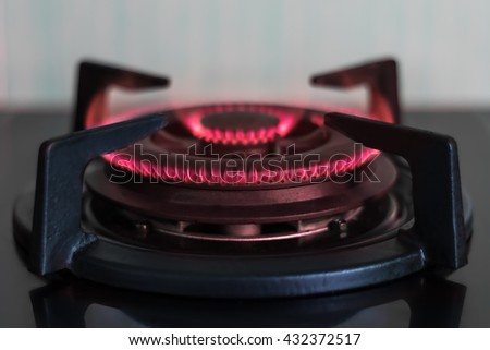 Close up gas stove burners in the kitchen - stock photo