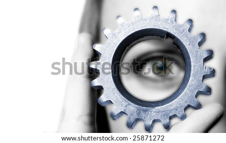 close up gears with woman on background - stock photo