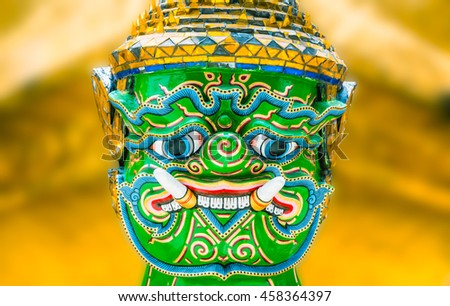 Close up giants statue in wat pra keaw at bangkok,Thailand. - stock photo