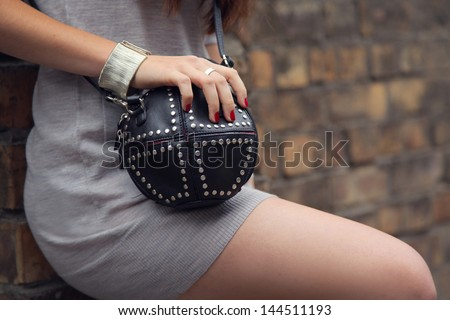 close up girl wearing accessory - stock photo
