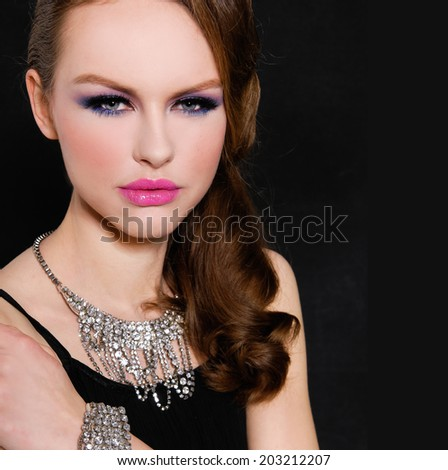 Close up glamour girl with bright make-up-and Jewelry  - stock photo