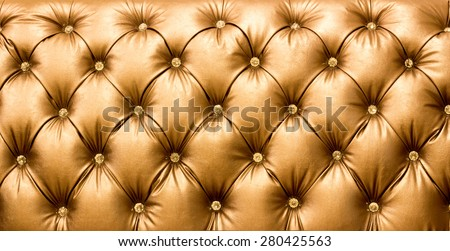 close up gold brown Leather texture Background - stock photo