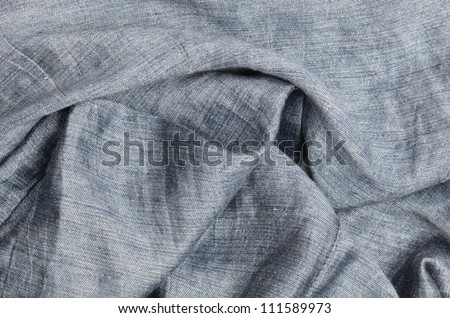 close up gray crumpled linen background - stock photo