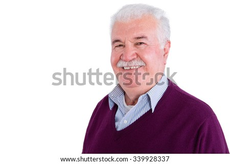 Close up Gray-Haired Senior Businessman Wearing Sweater Shirt, Smiles at Camera Against White Background. - stock photo