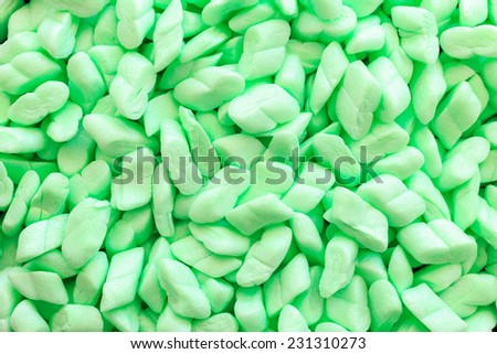 Close up green foam packing material used for shipping - stock photo